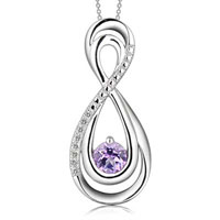 Sterling Silver - 4.0 mm lab created alexandrite and diamond accent infinity loop pendant in sterling silver sterling silver pendant Image.