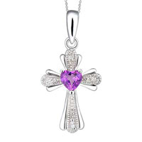 Sterling Silver - 4.0 mm heart shaped lab created alexandrite and diamond accent cross pendant in 925  sterling silver sterling silver pendant Image.