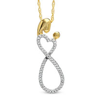 Sterling Silver - 1/6  ct.  t. w.  diamond mother infinite love pendant in sterling silver with 18 k gold plate necklace Image.