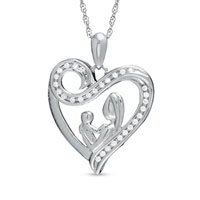 Sterling Silver - 1/10  ct.  t. w.  diamond motherly love swirl heart pendant necklace in sterling silver sterling silver pendant Image.
