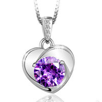 Sterling Silver - womens sterling silver necklace purple chain amethyst crystal heart pendant gift sterling silver pendant Image.