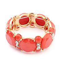 Bracelets - pink gemstone oval resin golden tone stretch cuff bangle bracelet Image.
