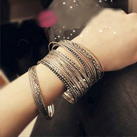 Bracelets - vintage women' s jewelry multi strands bangle charm bracelet sets Image.