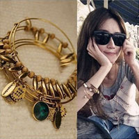 Bracelets - fashion golden tone turquoise round crystal cz bangle bracelet Image.