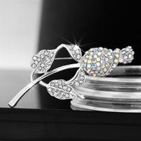Vintage Wedding Silver White Clear Floral Bridal Pin Swarovski Crystal Brooches