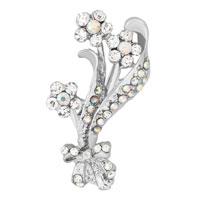 White Rhinestone Floral Flower Pin Wedding Bridal Bouquet Swarovski Crystal Brooches