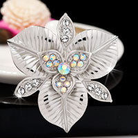 White Rhinestone Floral Flower Pin Wedding Bridal Bouquet Swarovski Crystal Brooches