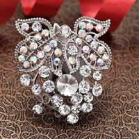 Vintage White Rhinestone Silver Floral Flower Wedding Bridal Swarovski Crystal Brooches