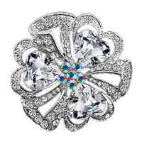 Wedding Pin Silver White Heart Drop Floral Bridal Swarovski Crystal Brooches