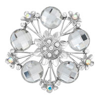 Vintage Wedding Silver White Round Floral Bridal Swarovski Crystal Brooches