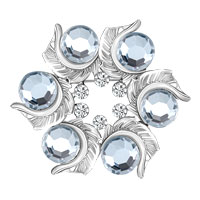 Vintage Flower Silver White Rhinestone Wedding Bridal Swarovski Crystal Brooches
