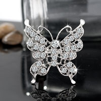 Vintage Butterfly Silver White Rhinestone Bridal Pin Swarovski Crystal Brooches