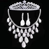 Earrings - wedding bridal sets rhinestone crystal necklace earring crown jewelry bib pendant Image.