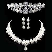 Earrings - wedding bridal sets rhinestone crystal necklace earring crown jewelry women pendant Image.