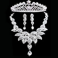 Earrings - wedding bridal sets flower rhinestone crystal necklace earring crown jewelry pendant Image.