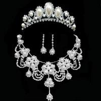 Earrings - rhinestone crystal pearl flower necklace earring jewelry set wedding bridal pendant Image.