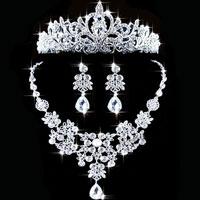Earrings - wedding bridal necklace earring crown set crystal rhinestone jewelry new pendant Image.