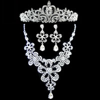 KSEB SHEB Items - wedding bridal set silver clear rhinestone crystal flower necklace+ earring+ crown Image.