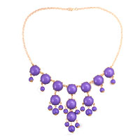 Necklace & Pendants - new bubble gold chain purple rhinestone chunky bib statement necklaces pendant Image.