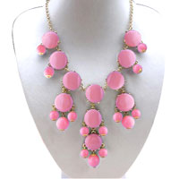 Necklace & Pendants - pink fashion bubble gold chain rhinestone chunky bib statement necklaces pendant Image.