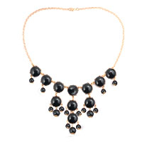 Necklace & Pendants - black fashion bubble gold chain rhinestone chunky bib statement necklace pendant Image.