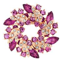 New Floral Flower Pin Brooch Vintage Rhinestone Crystal Purple Bouquets