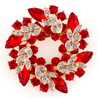 New Vintage Floral Flower Pins Brooches Rhinestone Crystal Red Bouquets