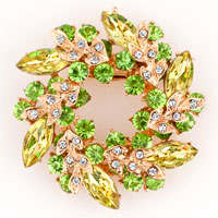 New Vintage Rhinestone Crystal Floral Flower Pin Brooch Green Bouquets