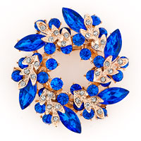 New Floral Flower Pins Brooches Vintage Sapphire Blue Rhinestone Crystal