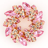 New Floral Flower Vintage Rhinestone Crystal Pink Bouquets Brooch Pin Lot