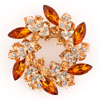 New Topaz Yellow Crystal Rhinestone Floral Flower Leaf Wreath Pin Brooch