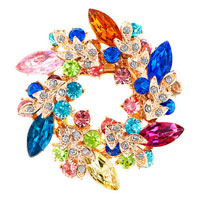 New Floral Flower Pin Brooch Vintage Rhinestone Crystal Multicolor Bouquet