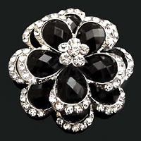 Large Drop Stone Crystal Rhinestone Open Floral Flower Pin Brooch