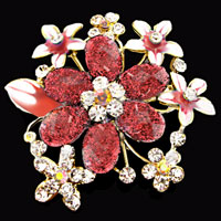 Pink Drop Stone Rhinestone Open Floral Flower Leaf Pin Swarovski Crystal Brooches