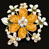 Yellow Drop Stone Crystal Rhinestone Open Floral Flower Leaf Pin Brooch