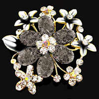 Gray Drop Stone Rhinestone Open Floral Flower Leaf Pin Swarovski Crystal Brooches