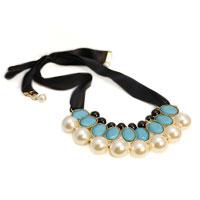 Necklace & Pendants - blue oval tear drop stone pearl cluster black ribbon statement bib necklace pendant Image.