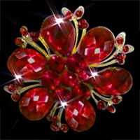 Women' S Red Austrian Crystal Gold Floral Flower Brooch Pin Wedding Brooch