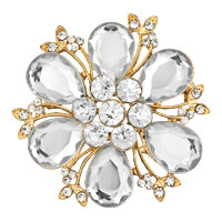 White Crystal Rhinestone Open Floral Flower Leaf Pin Brooch Silver