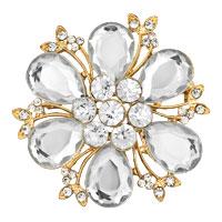 White Crystal Rhinestone Open Floral Flower Leaf Pin Brooch Silver