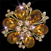 Big Yellow Rhinestone Crystal Gold Floral Flower Pin Brooch Wedding Bridal