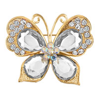 Antique White Rhinestone Crystal Silver Gold Butterfly Flower Brooch Pin
