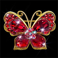 Vintage Red Rhinestone Crystal Silver Gold Butterfly Flower Brooch Pin