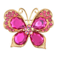 Gold Antique &  Vintage Rhinestone Crystal Pink Flower Butterfly Brooch Pin