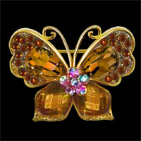 Gold Antique Vintage Rhinestone Crystal Flower Butterfly Brooch Pin