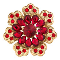 Red Rhinestone Crystal Gold Floral Flower Brooch Pin Wedding Bridal Brooch