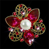 Red Rhinestone Crystal Wedding Bridal Bouquet Floral Flower Pearl Brooch Pin