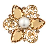 Vinatge Rhinestone Crystal Wedding Bridal Bouquet Flower Pearl Brooch Pin