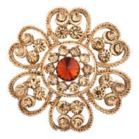 Vintage Yellow Crystal Rhinestone Gold Floral Flower Wedding Bridal Brooch