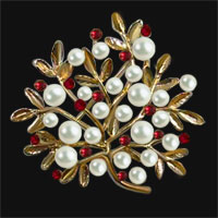 Gold Vintage Red Crystal Rhinestone Floral Flower Leaf Pearl Brooch
